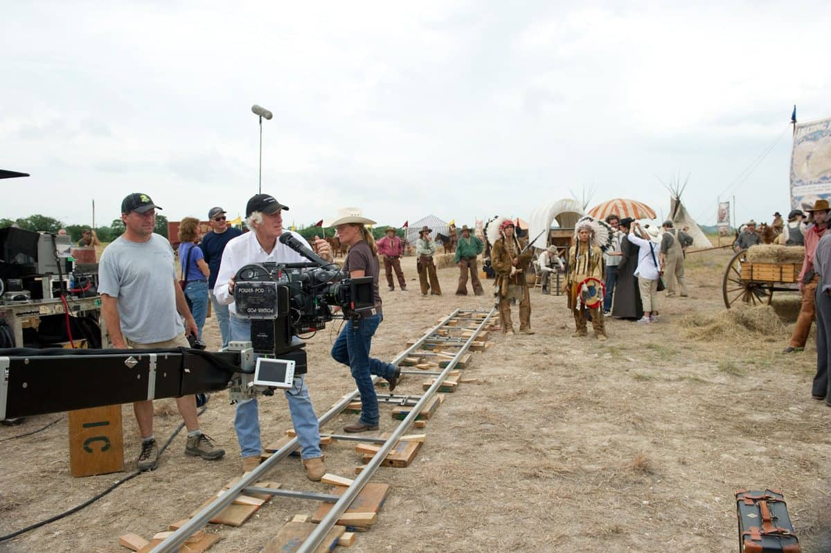 Roger Deakins (Director of Photography) on the set of TRUE GRIT