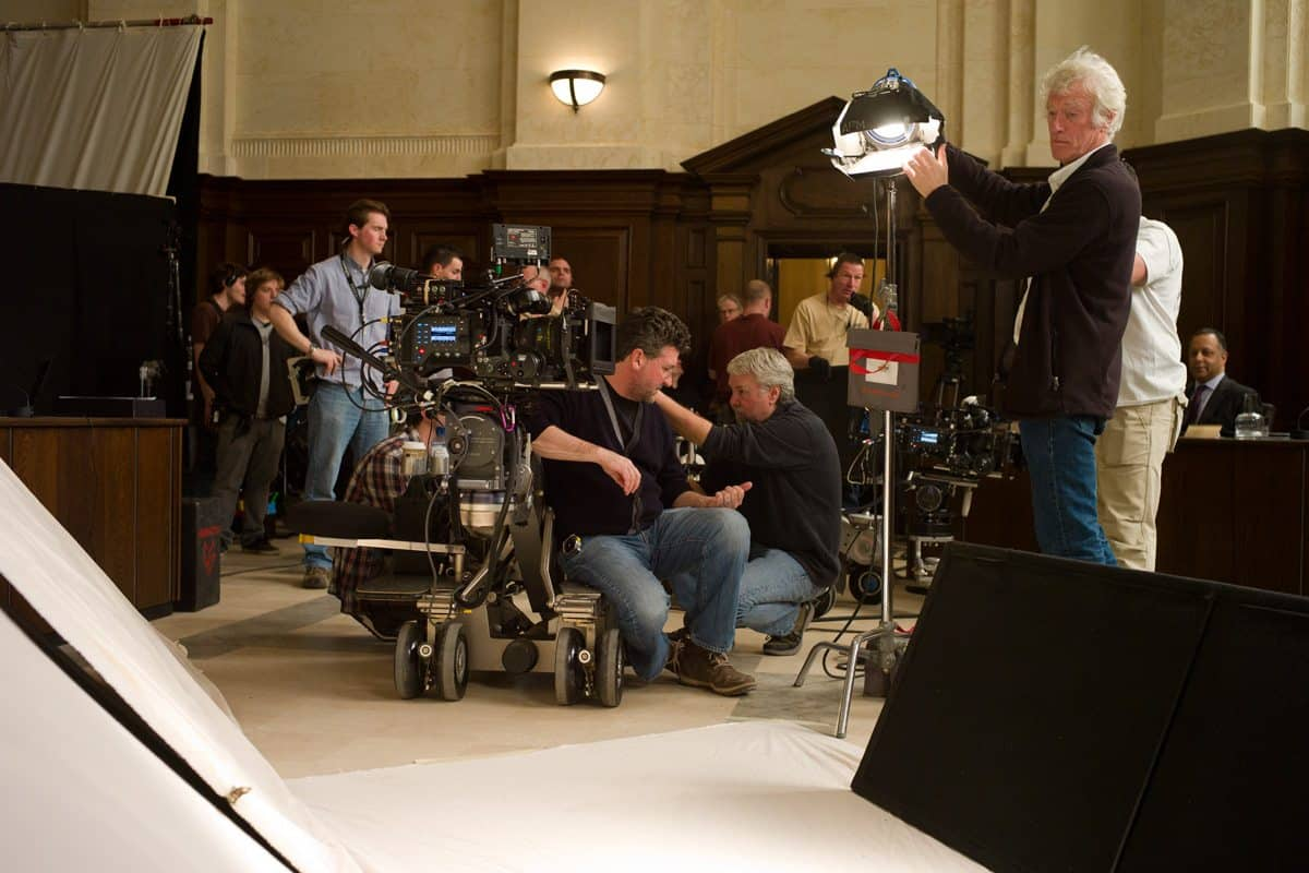 The camera crew and DP Roger Deakins on the board of inquiry set from Metro-Goldwyn-Mayer Pictures/Columbia Pictures/EON Productions' action adventure SKYFALL.