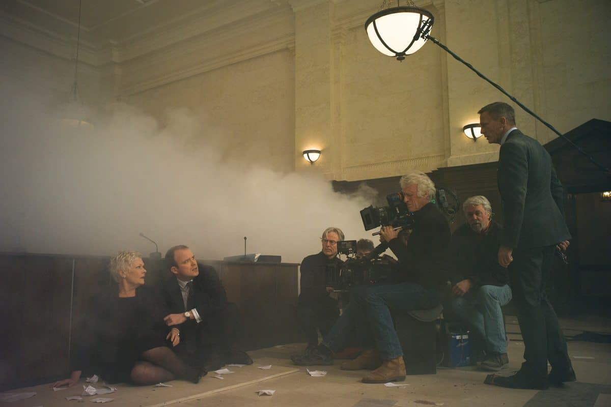eon lighting board. dp roger deakins films judi dench (m), rory kinnear (tanner) and eon lighting board e