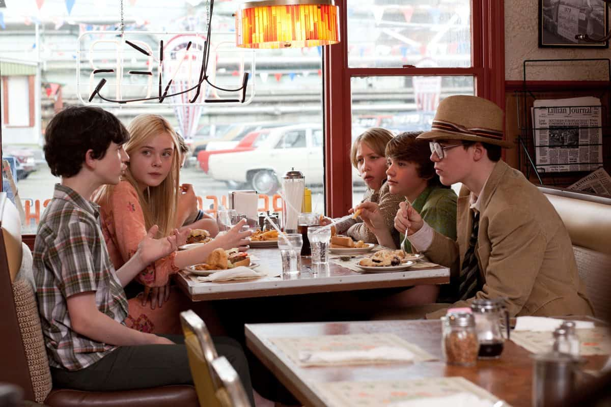 Left to right: Zach Mills plays Preston, Elle Fanning plays Alice Dainard, Riley Griffiths plays Charles Kasnick, Ryan Lee plays Cary, Joel Courtney plays Joe Lamb, and Gabriel Basso plays Martin in SUPER 8, from Paramount Pictures.