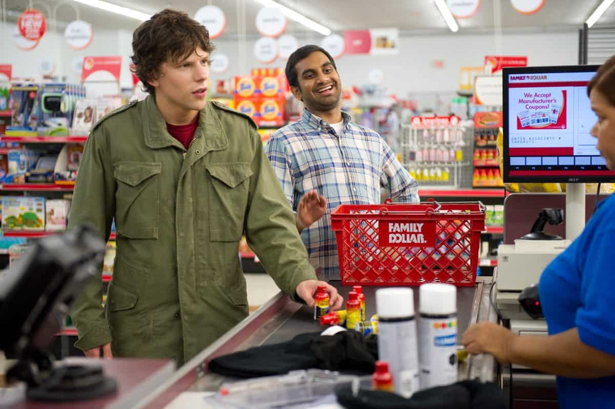 "Jesse Eisenberg and Aziz Ansari in Columbia Pictures' ""30 Minutes or Less."""
