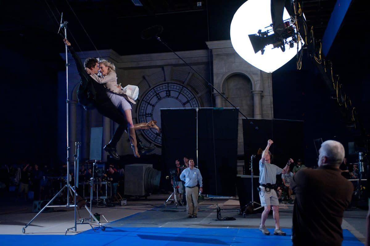 "Andrew Garfield and Emma Stone on the set of Columbia Pictures' ""The Amazing Spider-Man."""