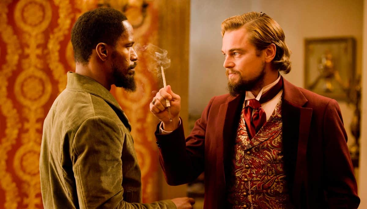JAMIE FOXX and LEONARDO DiCAPRIO star in DJANGO UNCHAINED Photo: Andrew Cooper, SMPSP © 2012 The Weinstein Company.