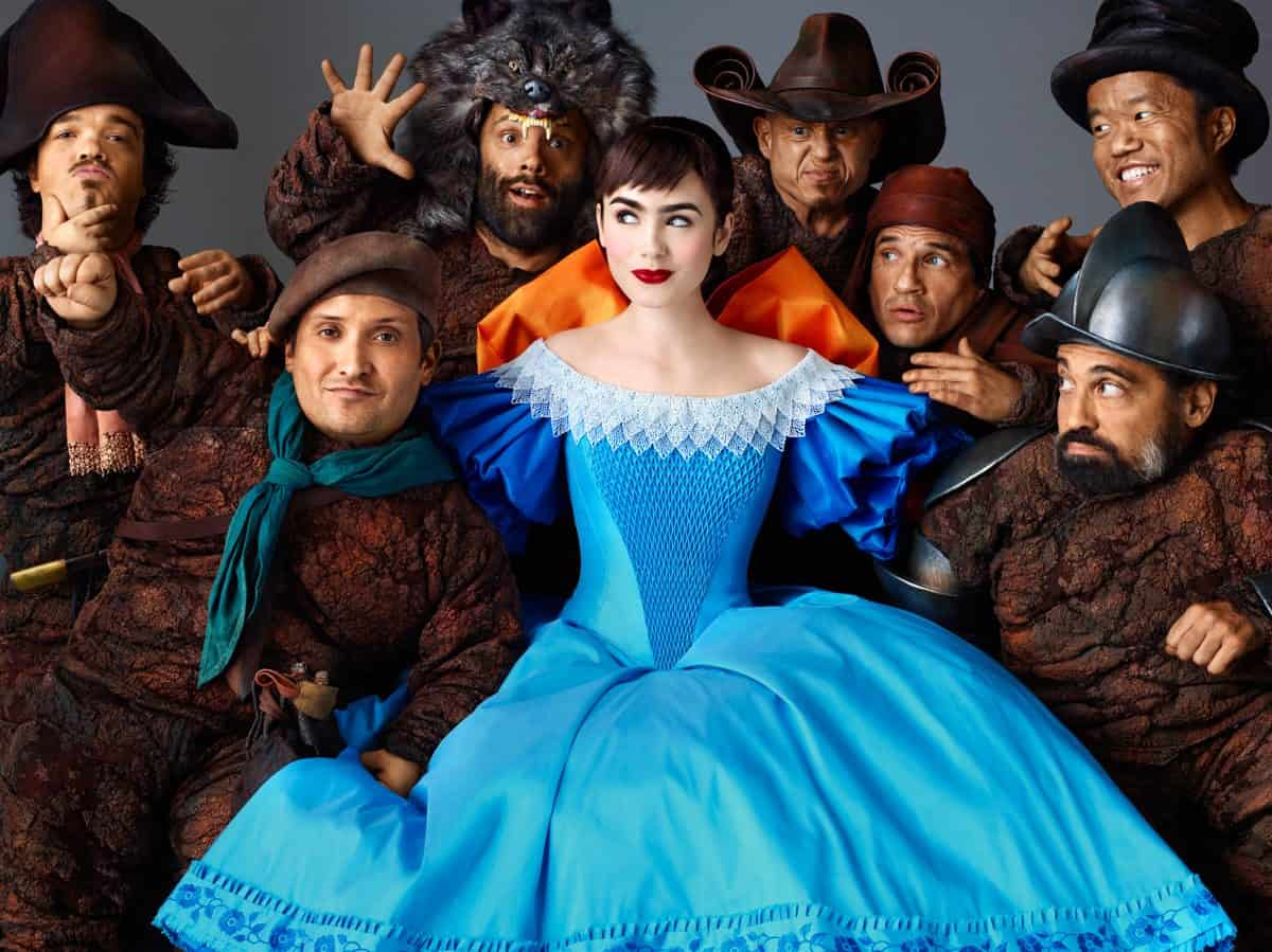 (Left to right.)  Jordan Prentice, Joey Gnoffo , Sabastian Saraceno,   Lily Collins, Martin Klebba, Mark Provinelli, Ronald Lee Clark and  Danny Woodburn star in Relativity Media's Untitled Snow White Project.
