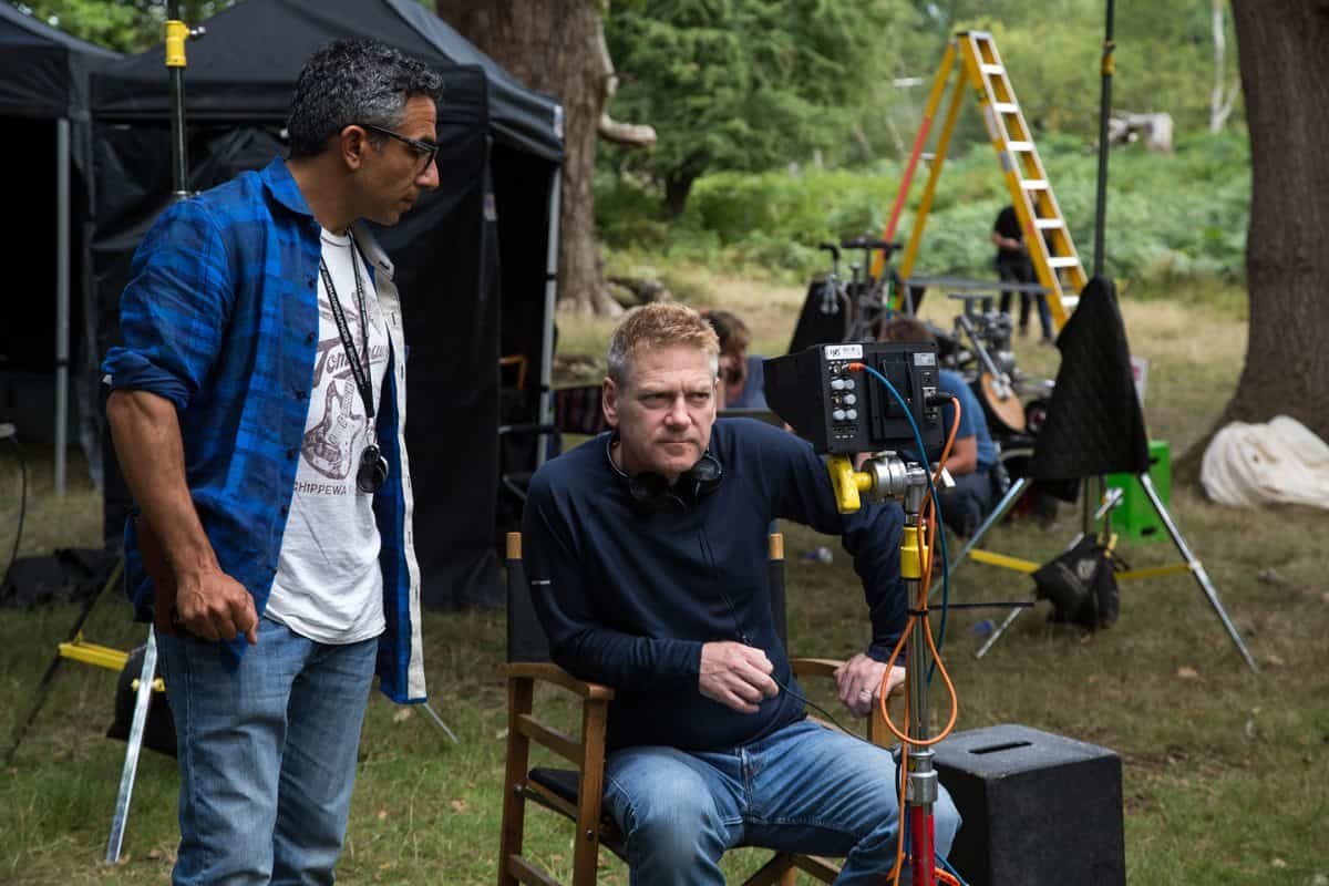 Haris Zambarloukas and Kenneth Branagh on the set of Disney's live-action feature CINDERELLA which brings to life the timeless images from Disney's 1950 animated masterpiece as fully-realized characters in a visually dazzling spectacle for a whole new generation.