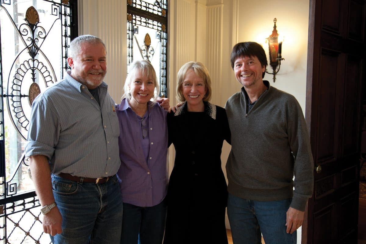 "Doris Kearns Goodwin interview for ""The Roosevelts: An Intimate History,"" November 2009 l-r: Paul Barnes, producer; Pam Baucom, producer; Doris Kearns Goodwin; Ken Burns, producer/director Photo Credit: Daniel J. White, Florentine Films"