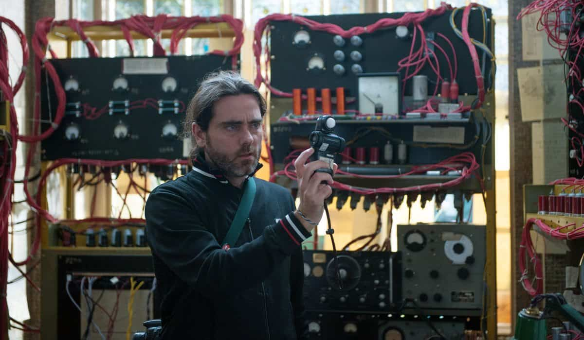 Cinematographer OSCAR FAURA on the set of THE IMITATION GAME