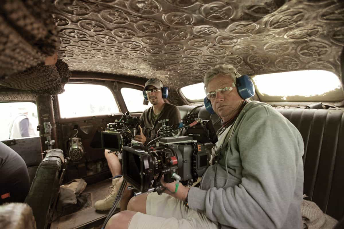 Back in the handheld mode ... John Seale pictured with B-camera operator Andrew Johnson (l) in the War rig