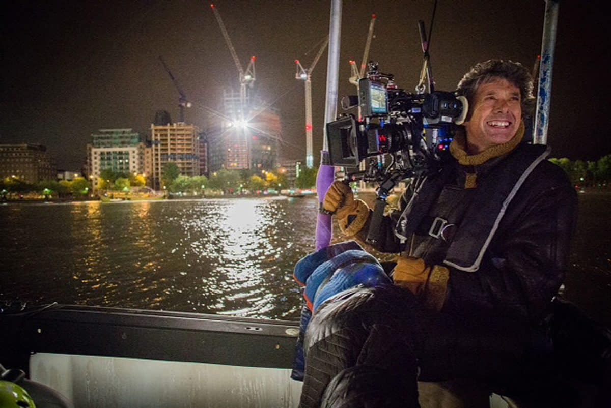 Riparian ... Gary on the Thames during a night shoot for 007 Spectre