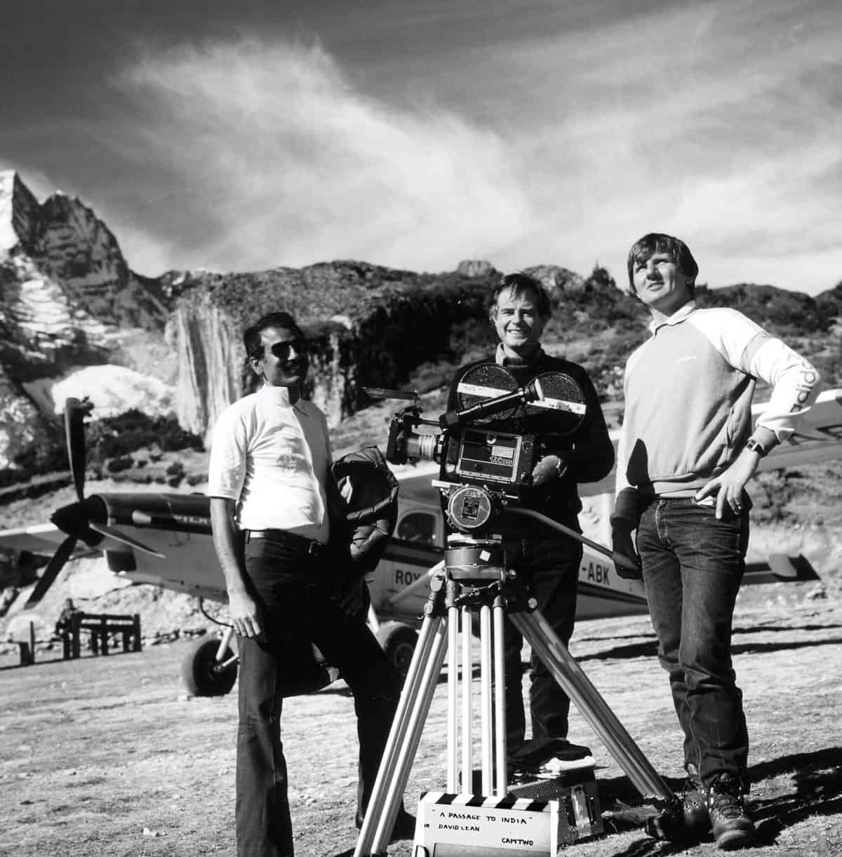 On location ... Robin Browne (c) with second unit camera team on A Passage To India (1984)