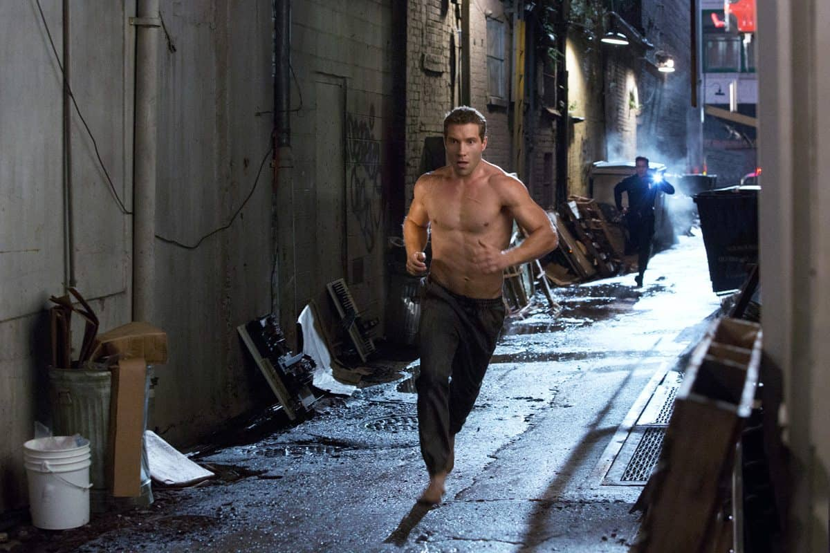 Left to right: Jai Courtney plays Kyle Reese and Byung-hun Lee plays T-1000 in Terminator Genisys from Paramount Pictures and Skydance Productions.