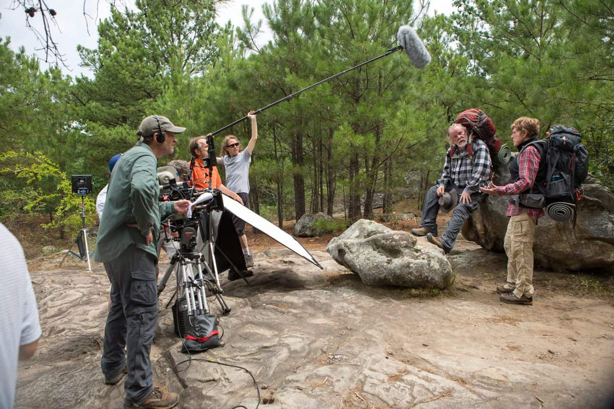 (l to r) Director Ken Kwapis and crew filming a scene with Nick Nolte and Robert Redford