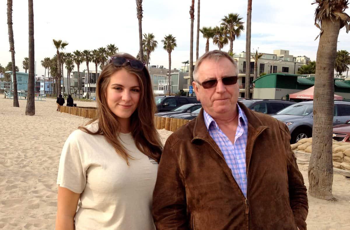 With daughter Xenia on Santa Monica Beach Gravity Awrd trip