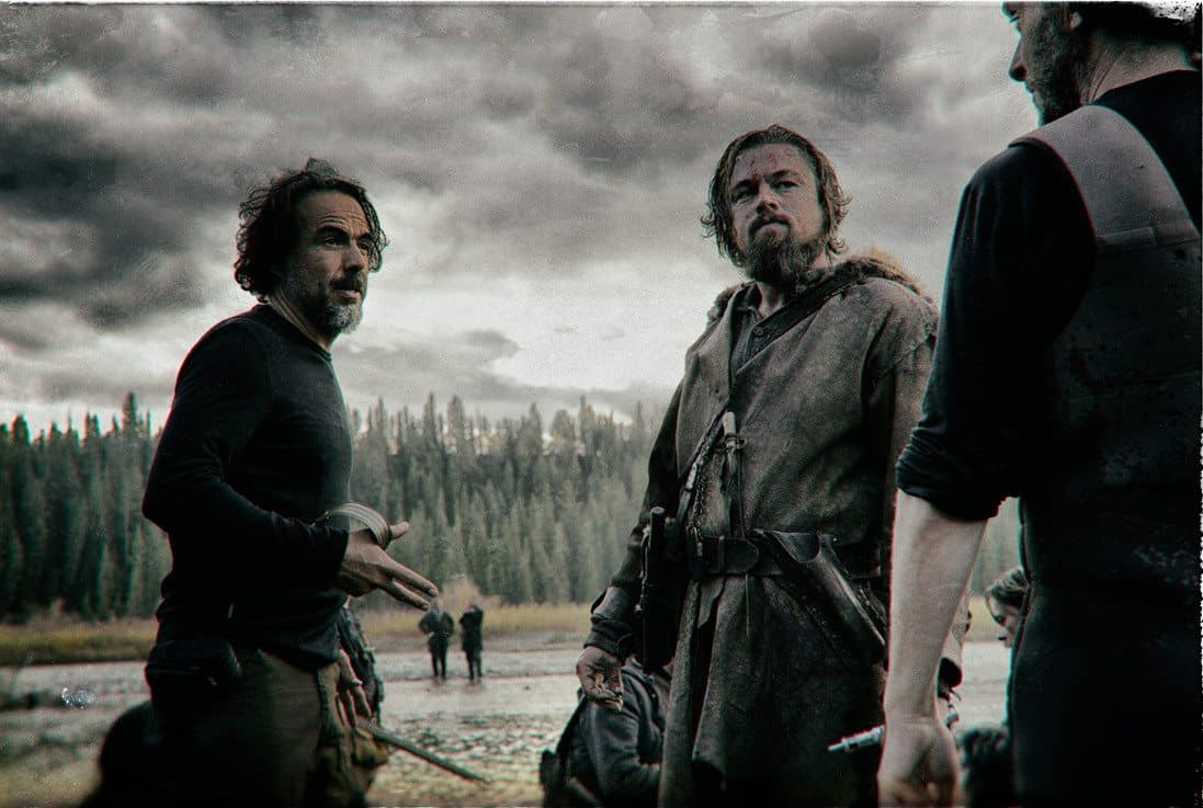 Director Alejandro G. Iñárritu with Leonardo DiCaprio and Chivo