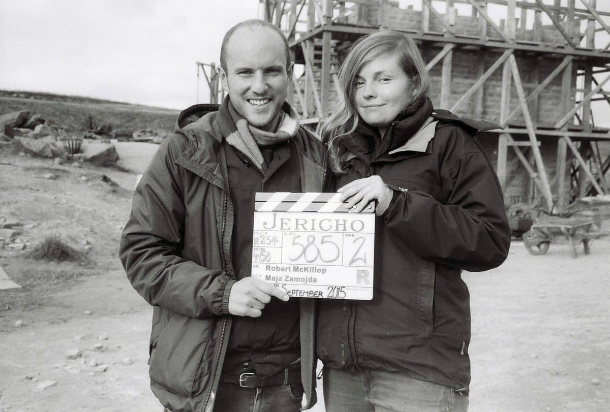 On-set ... Maja is pictured with director Robert Mckillop whilst shooting <em>Jericho</em>