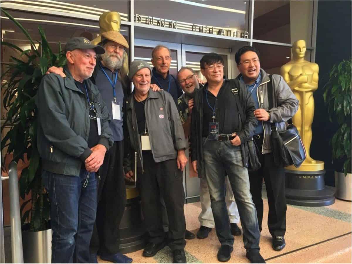 From left: Nigel Walters BSC, Tahvo Hirvonen FSC, Frederic Goodich ASC, Yannis Daskalothanasis GSC, Ron Johanseon ACS, Deyuan Mu CSC and Yang Shu CSC