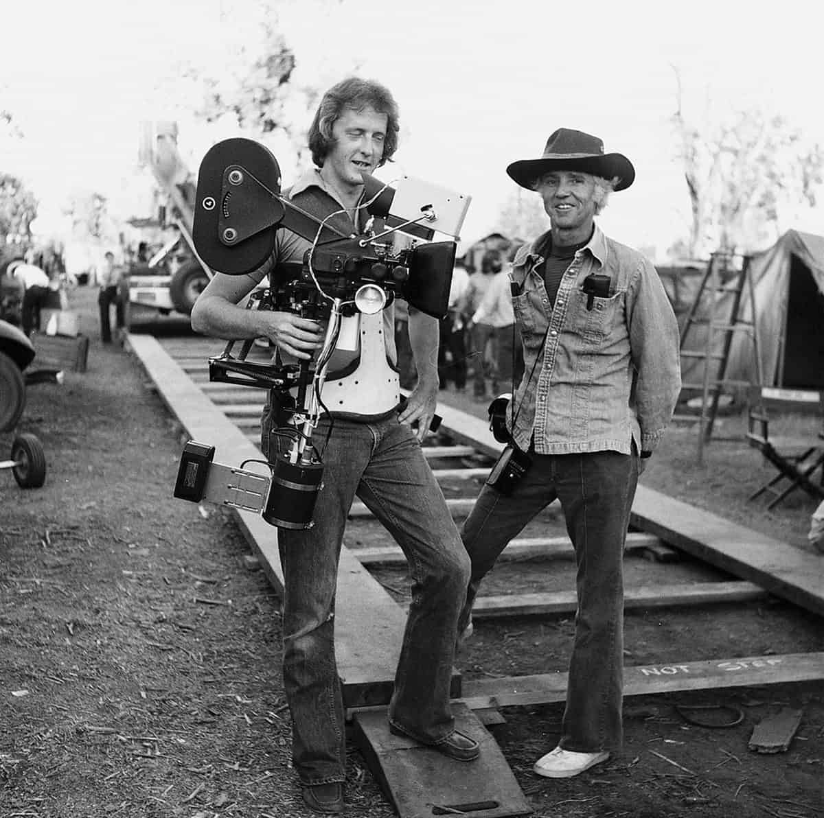 First motion picture... standing beside the late, great Haskell Wexler ASC on the set of <em>Bound For Glory</em>