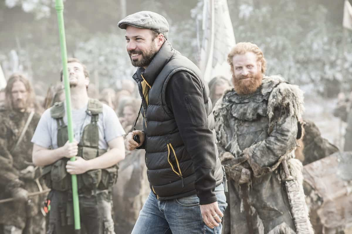 Fabian Wagner BSC is all smiles as actor Kristofer Hivju watches on