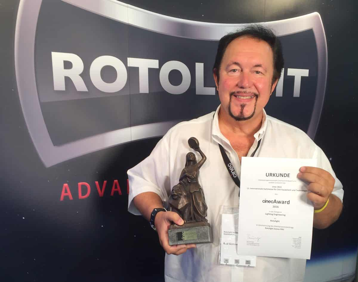 Rod Gammons, Chairman of Rotolight, with the cinecAward