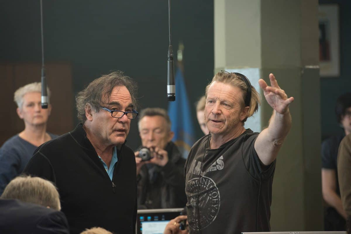 How's about this?... Director Oliver Stone considers his cinematographer's suggestion