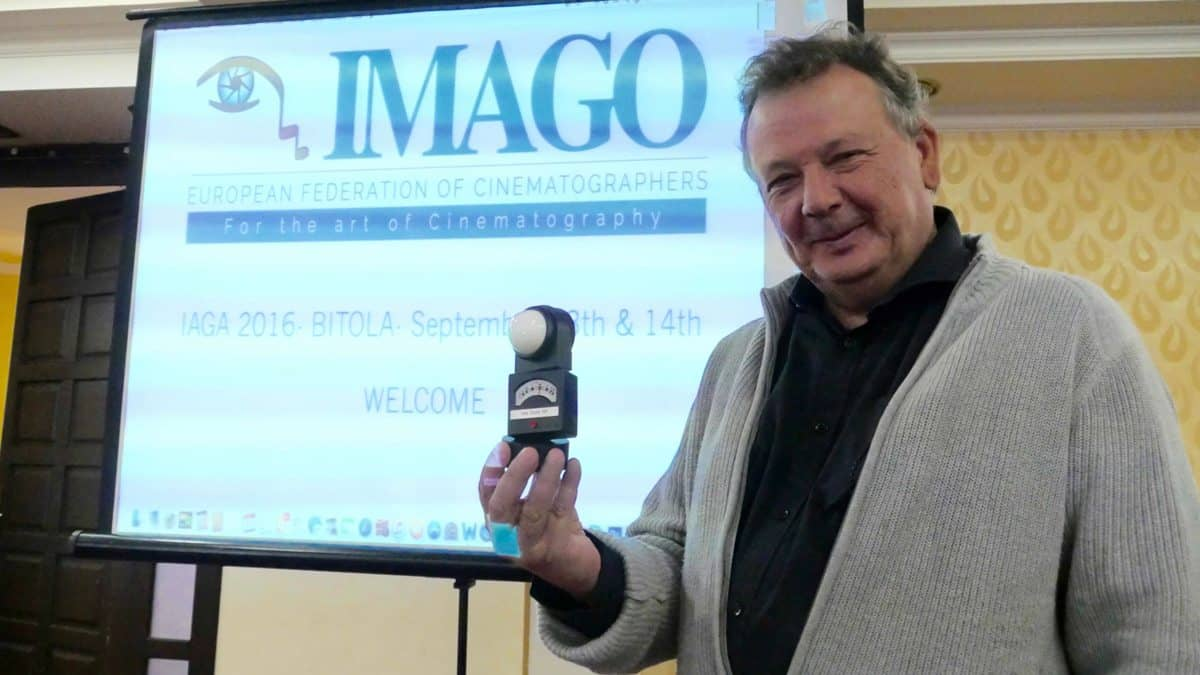 The measure of the man… Tony Costa AIP with his light meter IMAGO Tribute Award