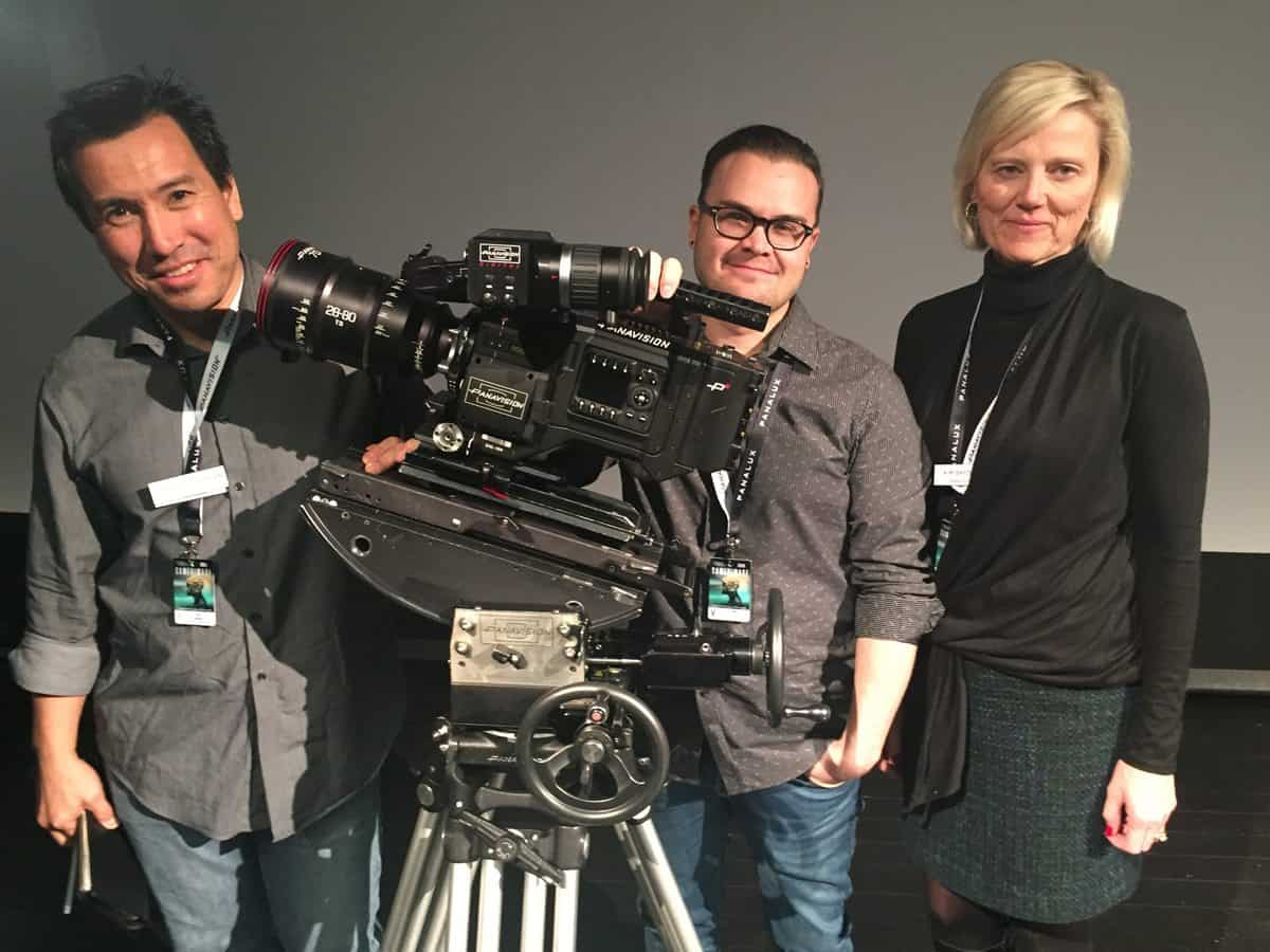 Dan Sasaki, Michael Cioni and Kimberly Snyder with the new Panavision DXL at Camerimage 2016