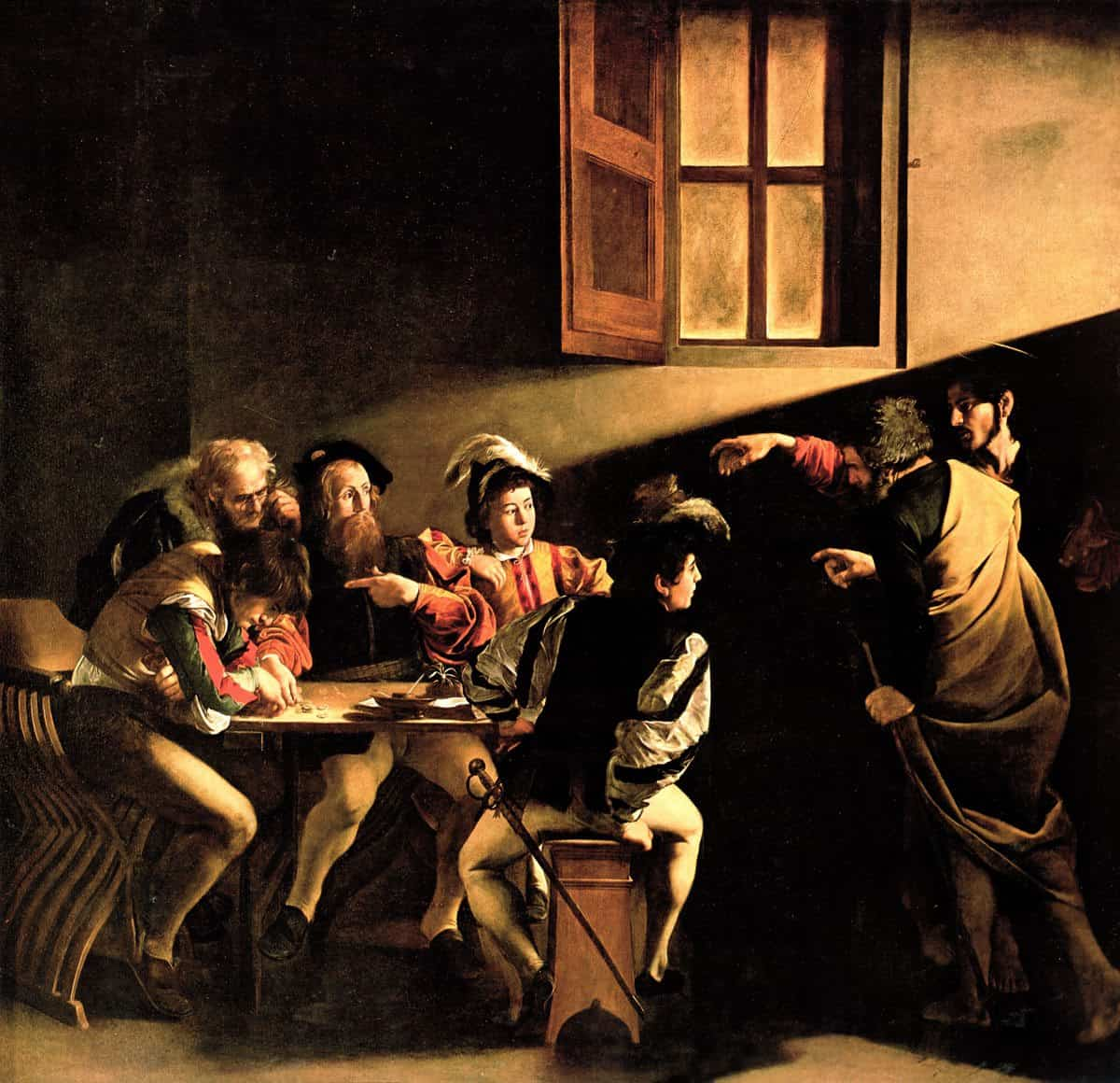 Caravaggio, <em>The Calling of Saint Matthew</em>, 1600