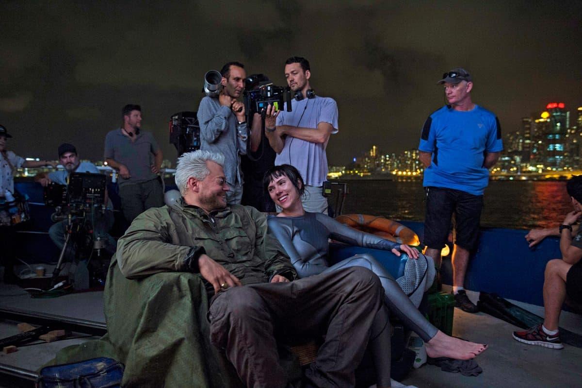 Scarlett Johansson and Director Rupert Sanders take a relaxing moment