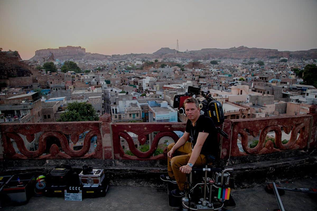 Ben Smithard BSC at the film camera in Jodhpur, India. Photo by Kerry Monteen