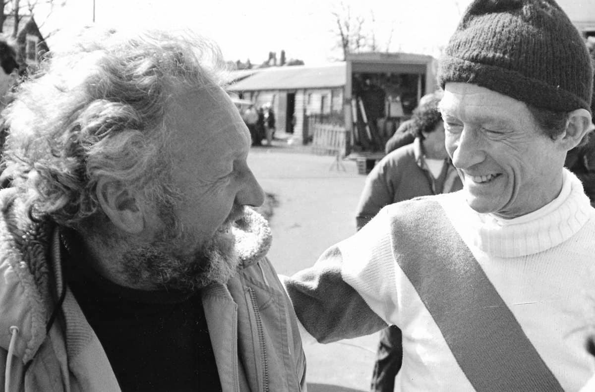 Ronnie Taylor pictured with John Hurt on the set of <em>Champions</em>