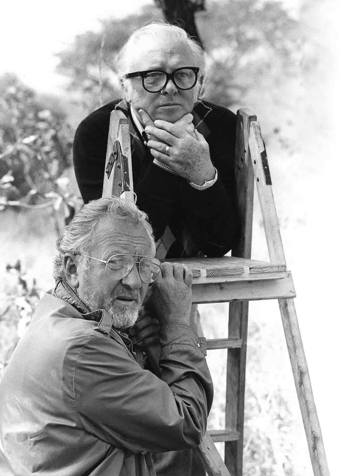 Ronnie Taylor pictured with director Richard Attenborough on <em>Gandhi</em>