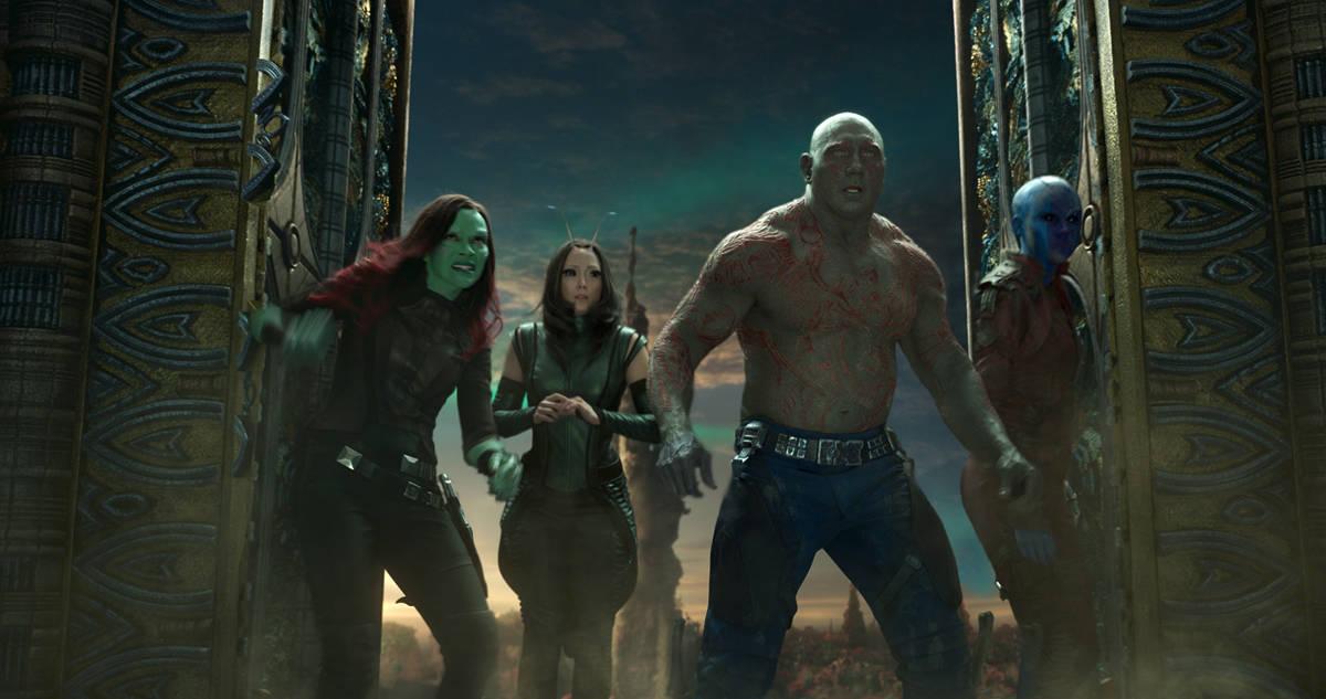 L to R: Gamora (Zoe Saldana), Mantis (Pom Klementieff), Drax (Dave Bautista) and Nebula (Karen Gillan)