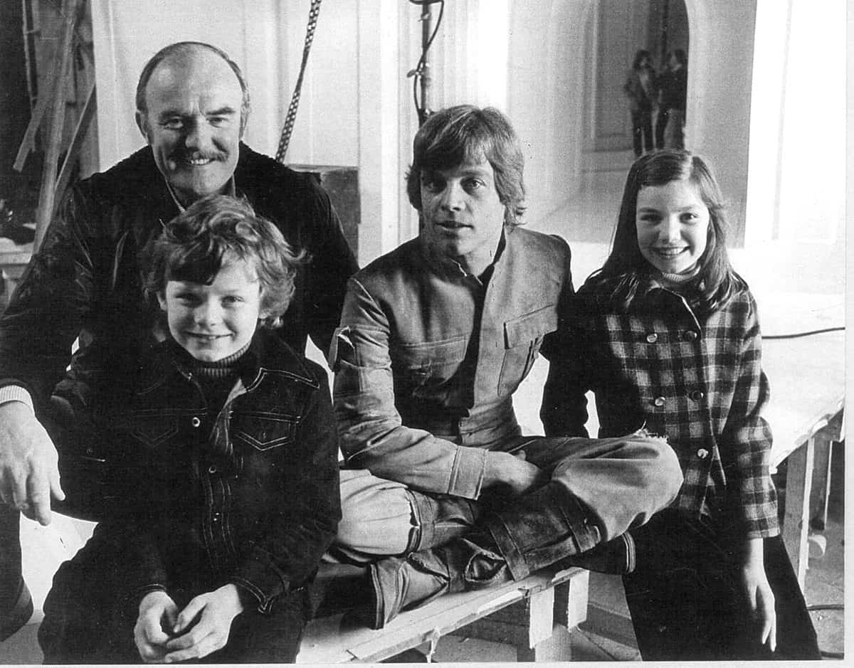On <em>Star Wars: Episode V The Empire Strikes Back</em> (1980) with actor Mark Hamill and children