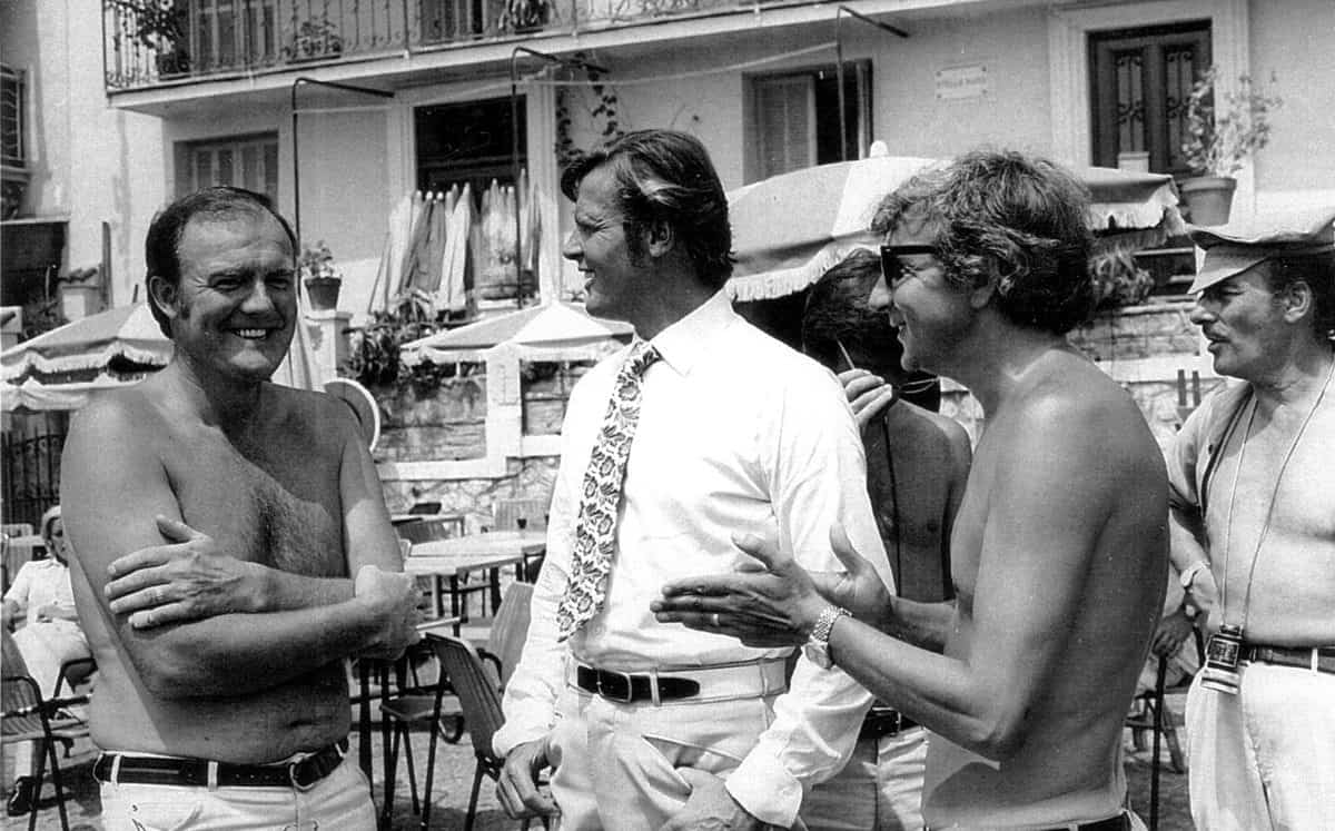 Having a laugh during <em>The Persuaders!</em> - James Devis (l-r) with Roger Moore, assistant director Peter Price, and director Val Guest