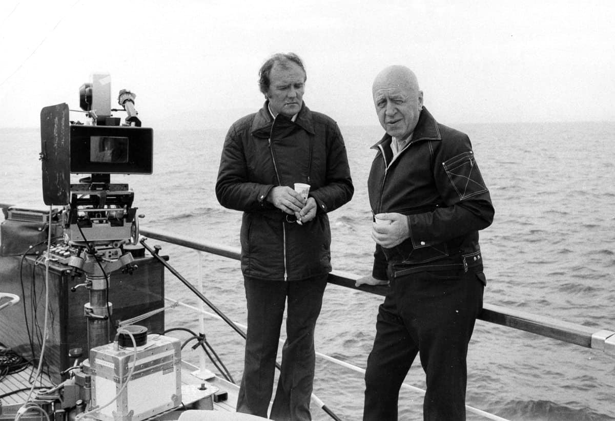 On <em>Rosebud</em> (1975) with Otto Preminger (r) in the Mediterranean off the coast of Israel