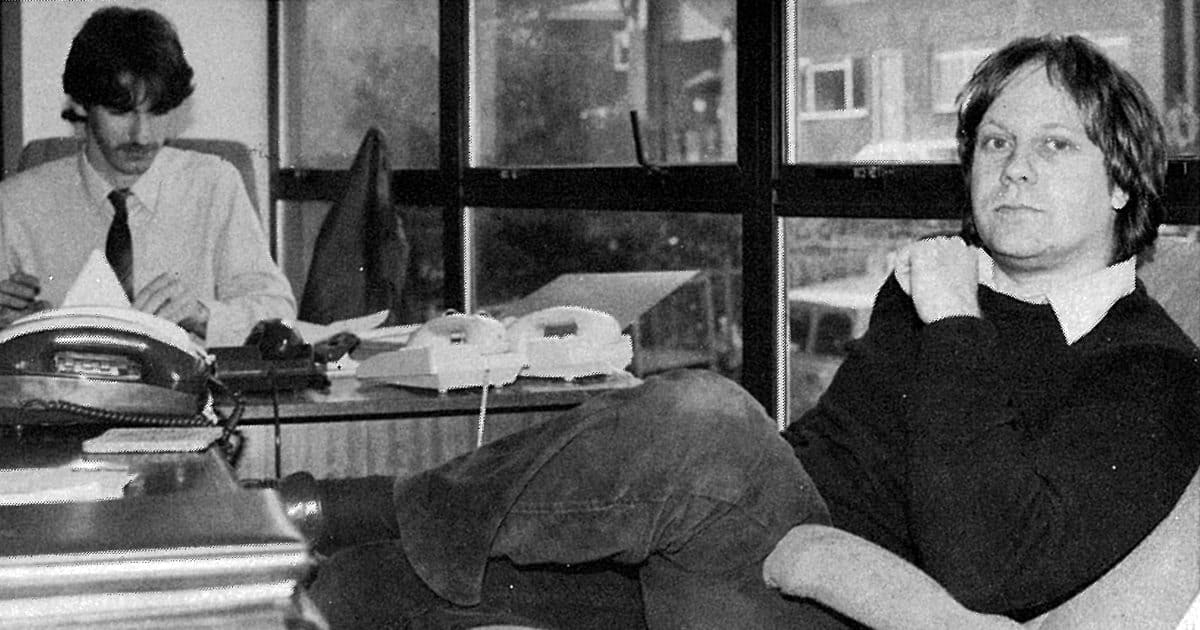 1986... David Leggett sitting opposite former colleague, Nic Tolkien, in A.C. Lighting's HQ. Photo courtesy PLASA Media Ltd