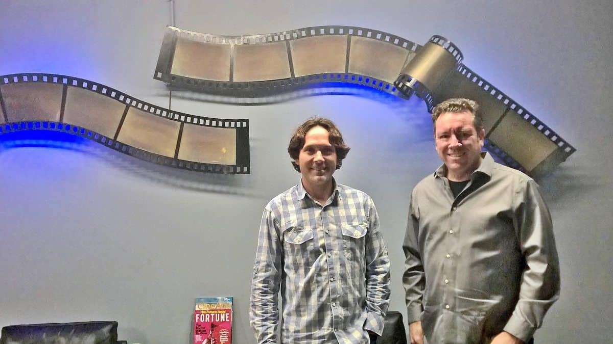 Chris Parker (left), Chief BDO, stands with Scott McGowan (right) VP of Marketing, in front of some of the only remnants of the Kodak building's previous tenant