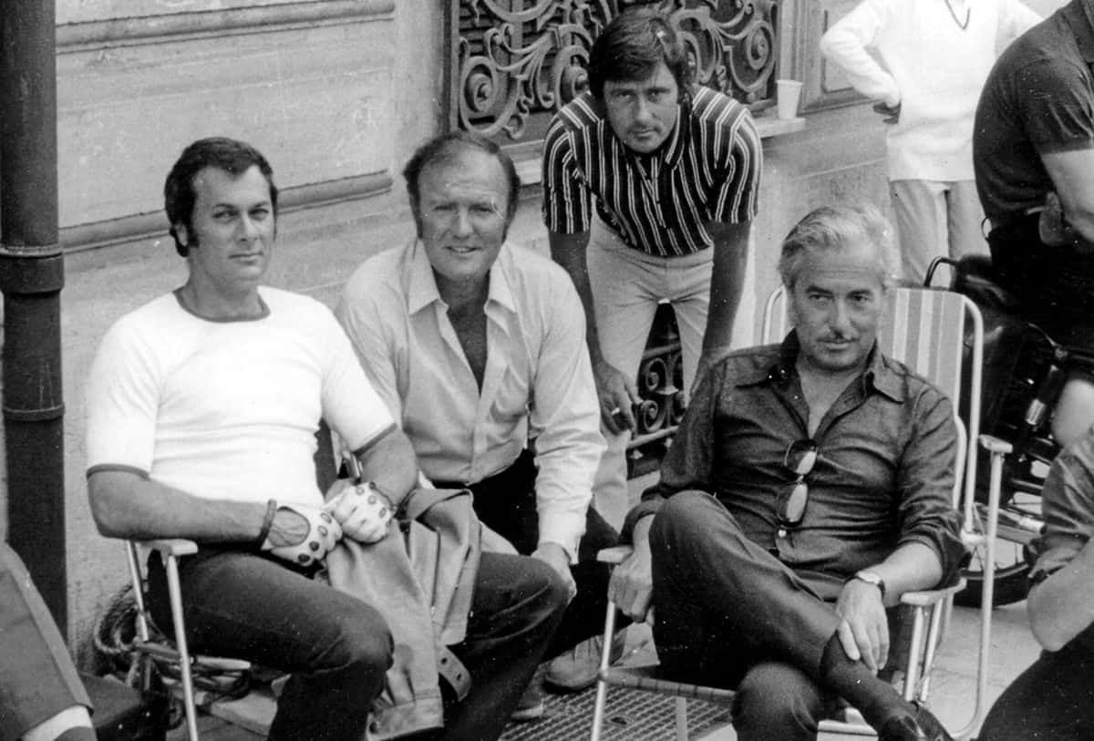 <em>The Persuaders</em>… (l-r) Tony Curtis, operator James Devis BSC, <br>DP Tony Spratling BSC and producer Bob Baker
