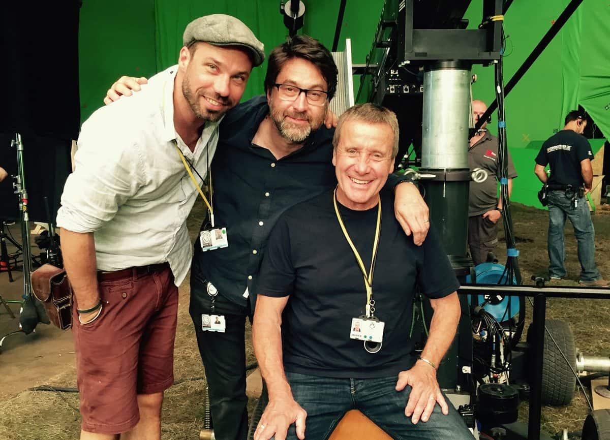 Fabian with sound recordist John Casali and gaffer Chuck Finch