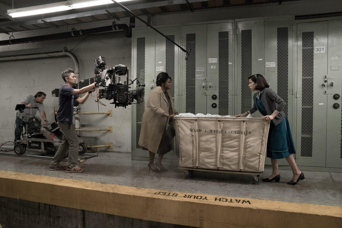 (l-r) A camera dolly grip Ron Renzetti, B camera dolly grip Mike Yabuta, Octavia Spencer and Sally Hawkins