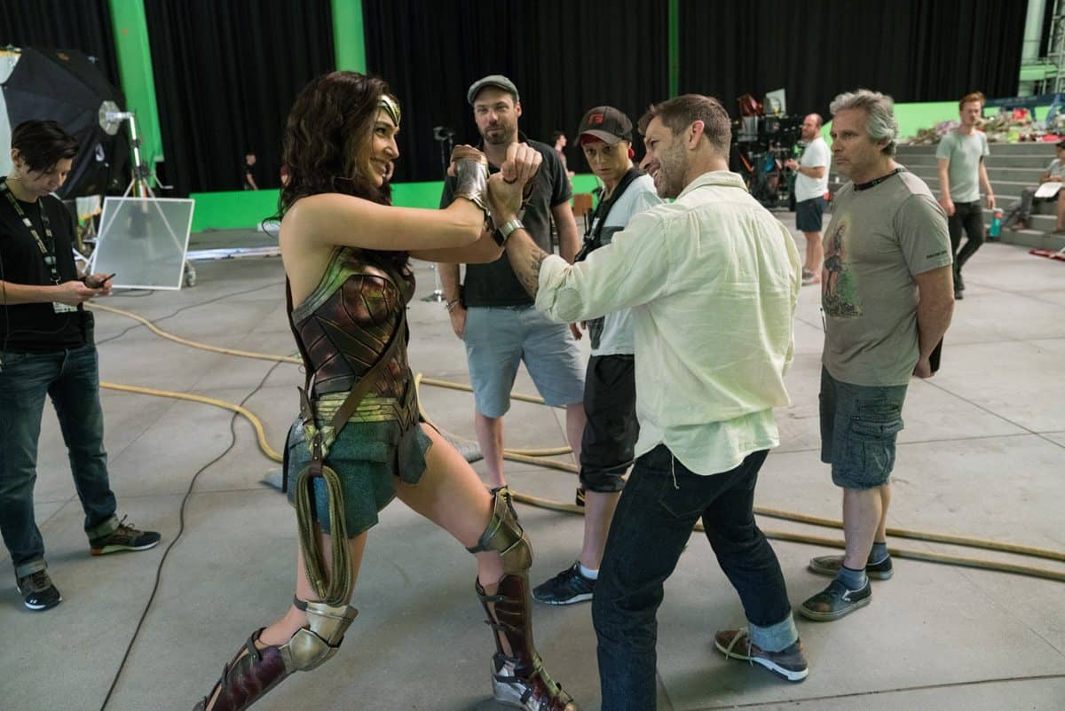 Director Zack Synder gets to grips with Wonder Woman as Fabian watches on