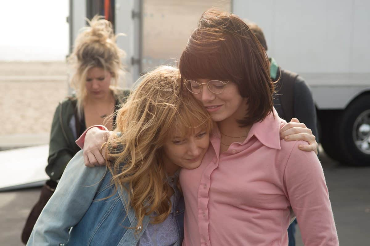 Andrea Riseborough and Emma Stone as Marilyn Barnett and Billie Jean King