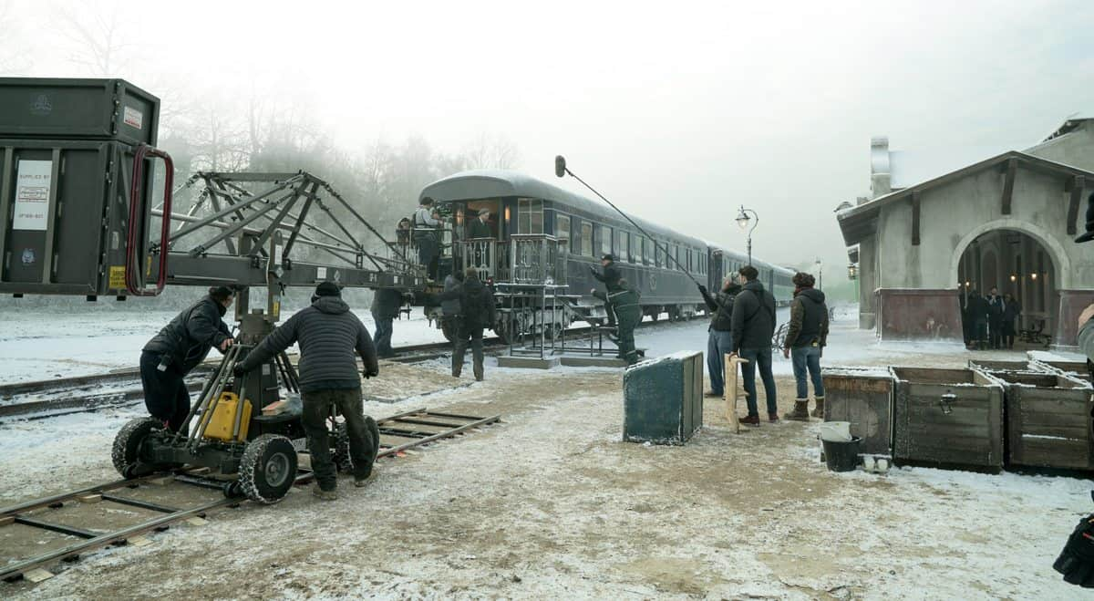 "On the set of Twentieth Century Fox's ""Murder on the Orient Express."""