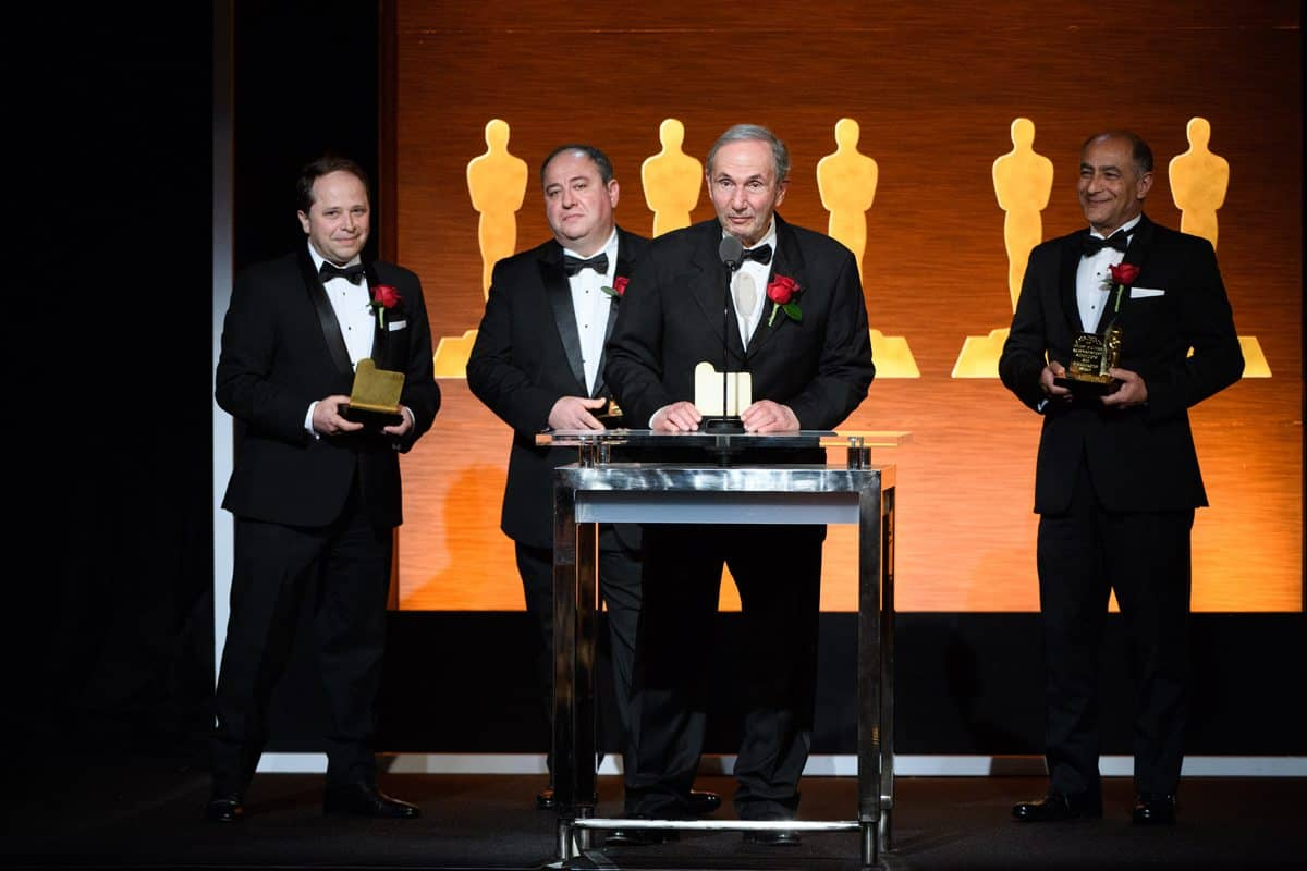 Stanislav Gorbatov, David Gasparian, Leonard Chapman and Souhail Issa during the Academy of Motion Picture Arts and Sciences' Scientific and Technical Achievement Awards. ©A.M.P.A.S.