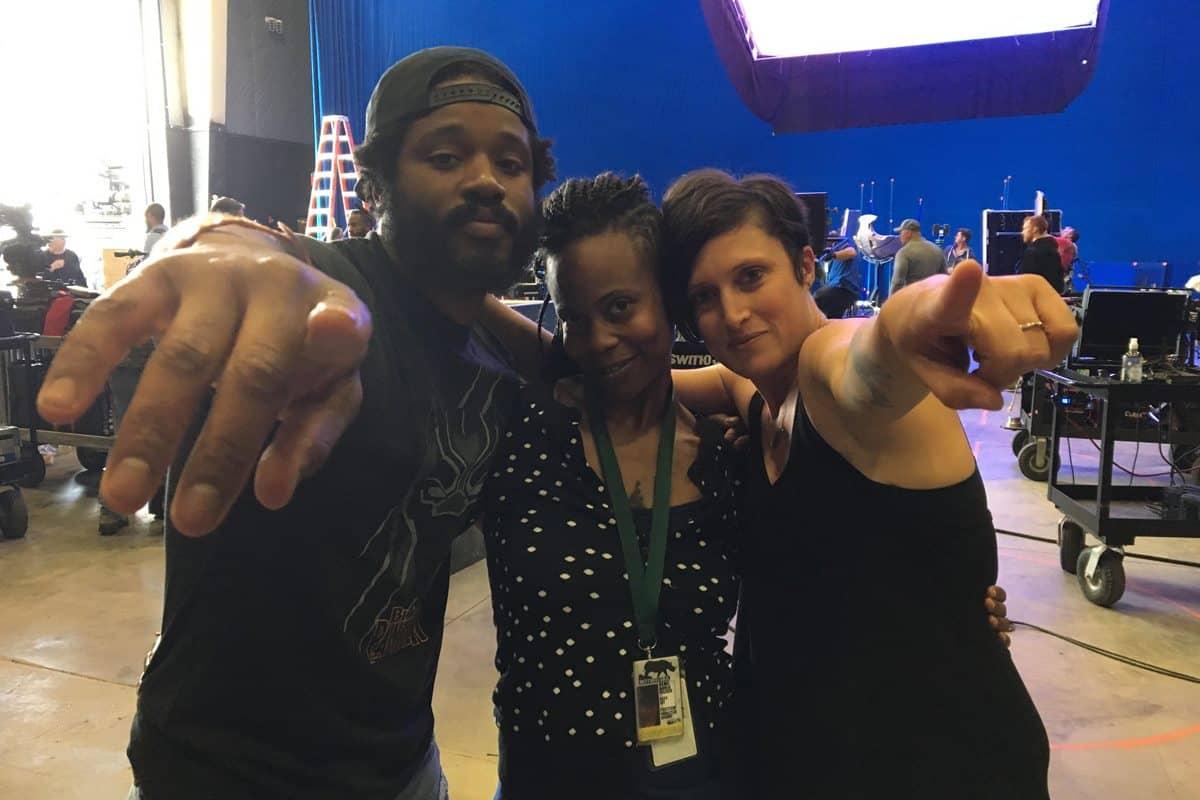 (l-r): Director Ryan Coogler, Production Designer Hannah Beachler, and Cinematographer Rachel Morrison on the <em>Black Panther</em> set. Photo Credit: 1st AD Lisa Satriano