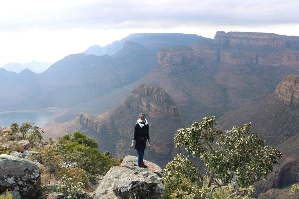 Production Designer Hannah Beachler on the South African research trip at Blyde Canyon. <br>Photo Credit: Location Mgr. Ilt Jones