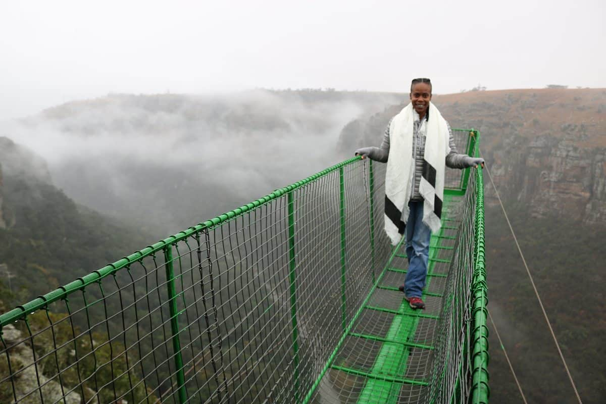Production Designer Hannah Beachler on South African research trip at Oribi Gorge. <br>Photo Credit: Location Mgr. Ilt Jones