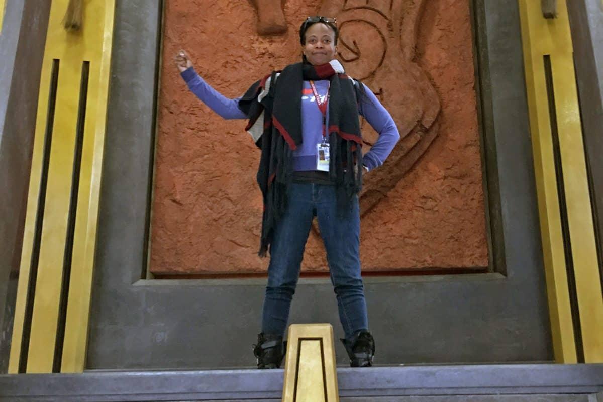 Production Designer Hannah Beachler on the Throne Room set during prep of <em>Black Panther</em>.  Photo Credit: Location Mgr. Ilt Jones
