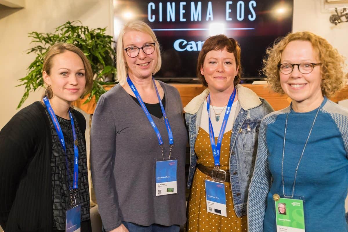 (l-r): Greta Zozula (DP, <em>Never Goin' Back</em>), Claudia Raschke (DP <em>RBG</em>, <em>The Price of Everything</em>), Autumn Eakin (DP <em>Lenny</em>) and moderator Pat Thomson from American Cinematographer.