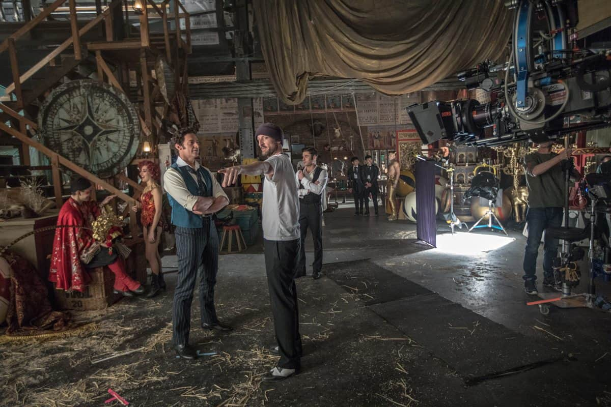 Hugh Jackman, left, and director Michael Gracey on the set